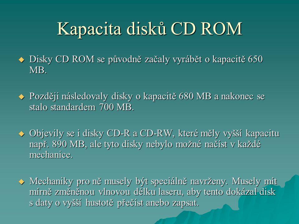 Kapacita disků CD ROM Disky CD ROM se původně začaly vyrábět o kapacitě 650 MB.