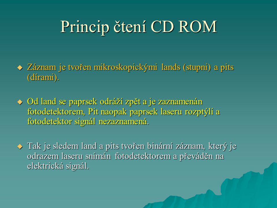 Princip čtení CD ROM Záznam je tvořen mikroskopickými lands (stupni) a pits (dírami).