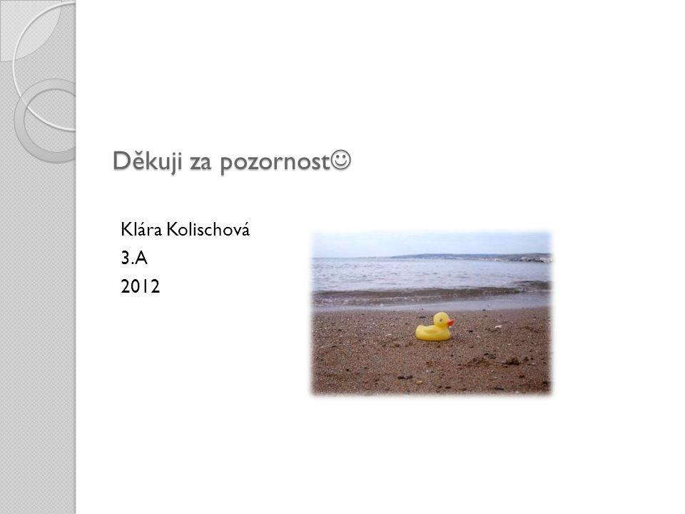 Děkuji za pozornost Klára Kolischová 3.A 2012