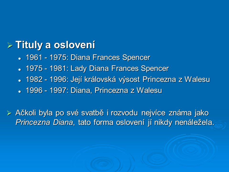 Tituly a oslovení 1961 - 1975: Diana Frances Spencer. 1975 - 1981: Lady Diana Frances Spencer.