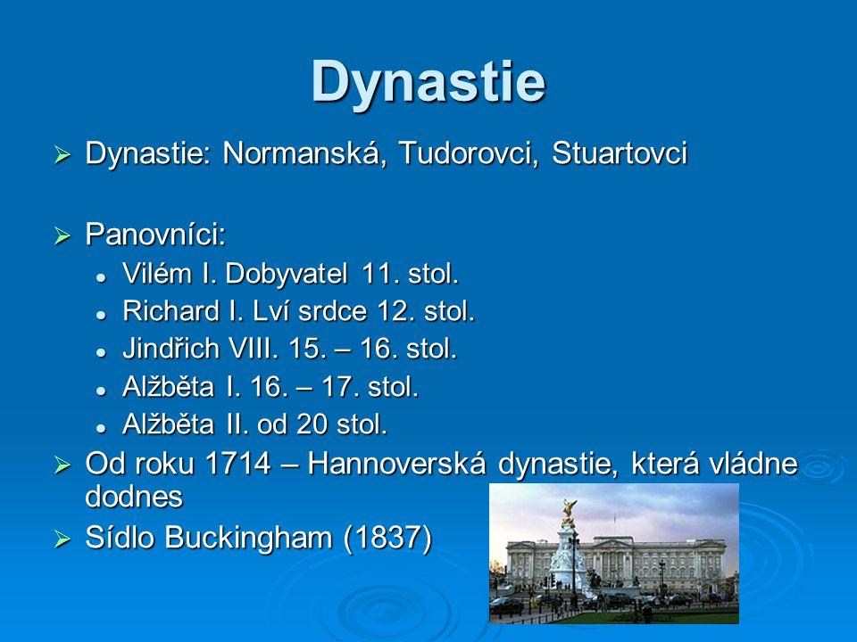 Dynastie Dynastie: Normanská, Tudorovci, Stuartovci Panovníci: