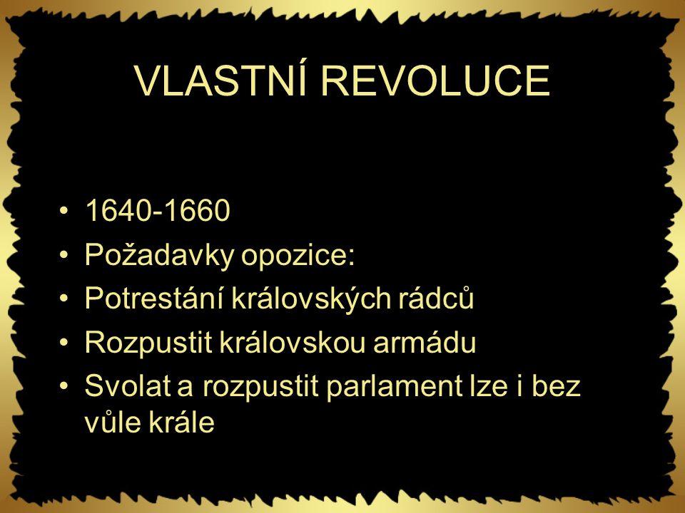 VLASTNÍ REVOLUCE 1640-1660 Požadavky opozice: