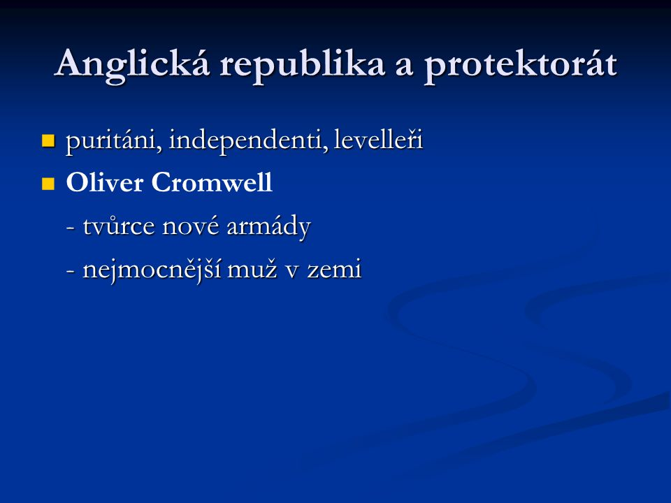 Anglická republika a protektorát