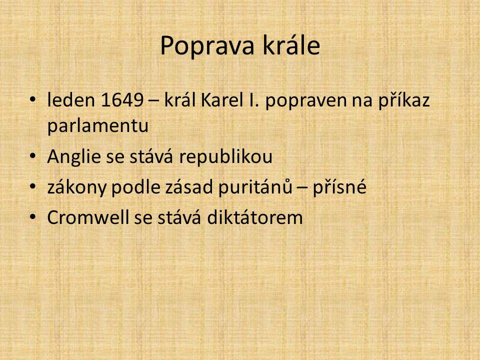 Poprava krále leden 1649 – král Karel I. popraven na příkaz parlamentu