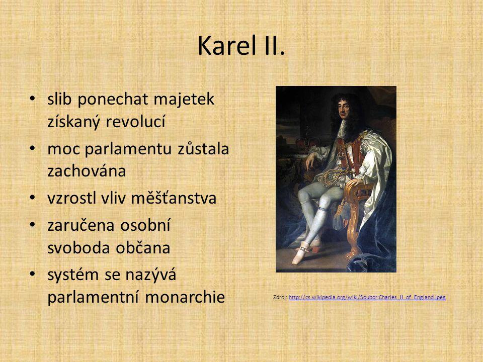 Karel II. slib ponechat majetek získaný revolucí