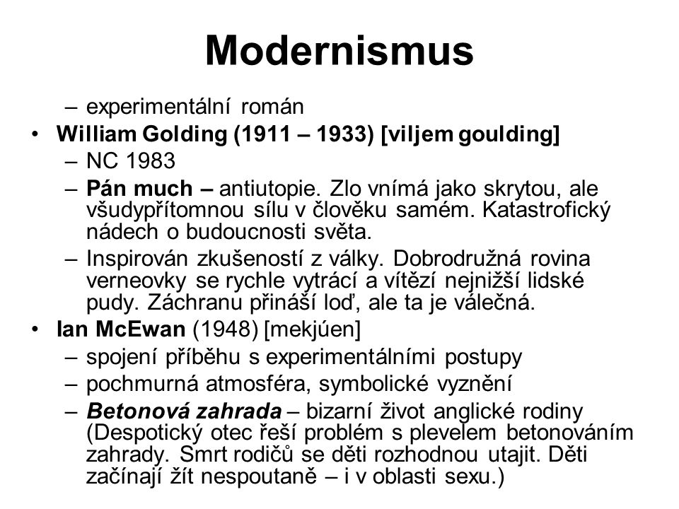 Modernismus experimentální román