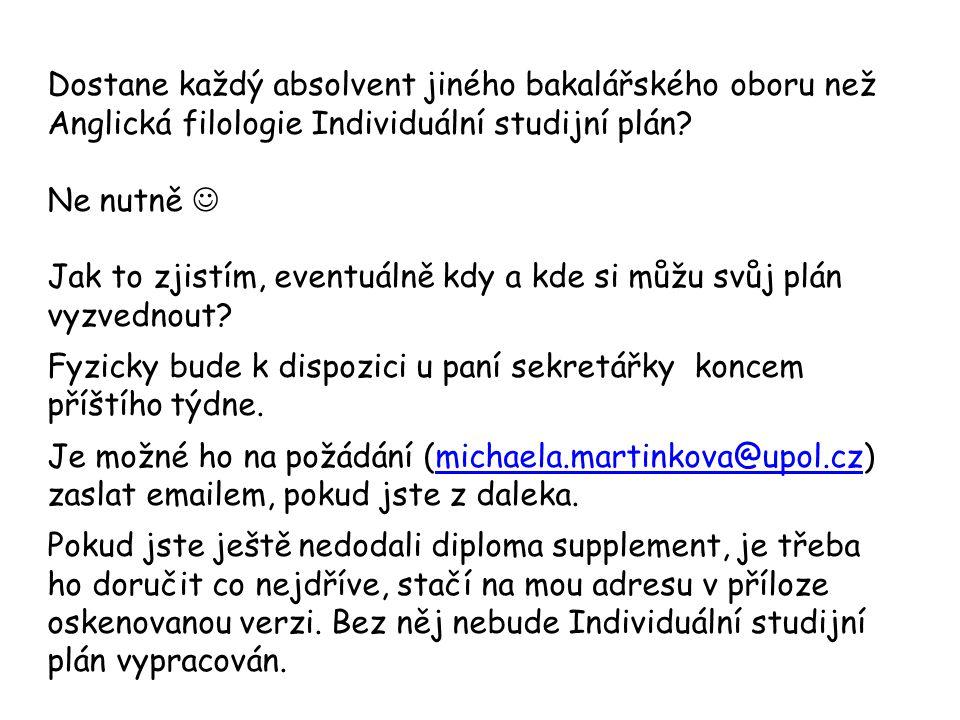 Dostane každý absolvent jiného bakalářského oboru než Anglická filologie Individuální studijní plán