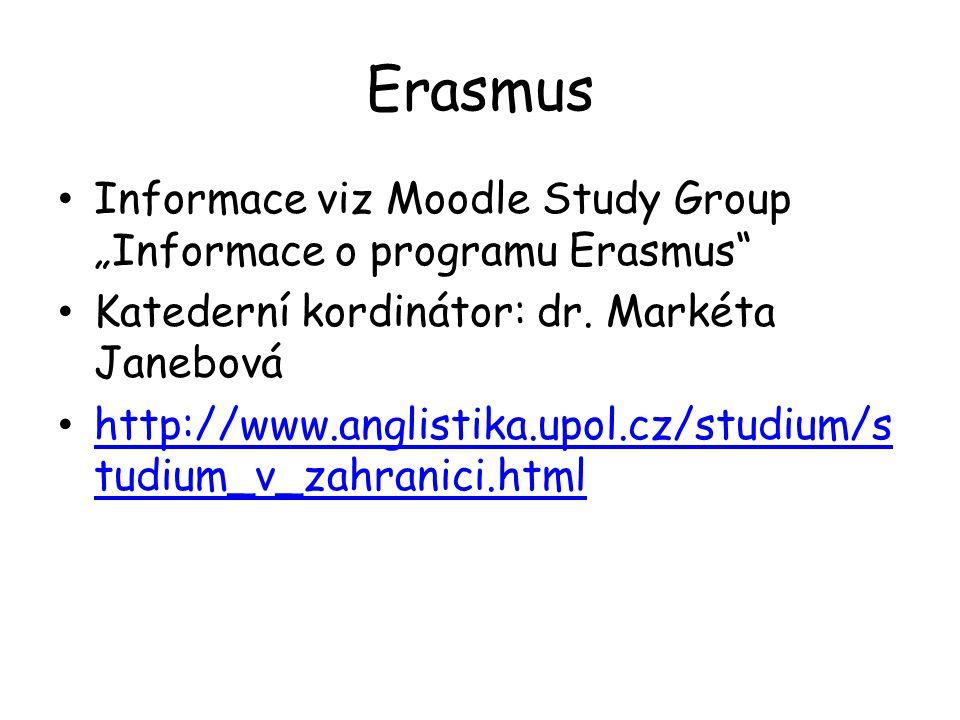 """Erasmus Informace viz Moodle Study Group """"Informace o programu Erasmus Katederní kordinátor: dr. Markéta Janebová."""