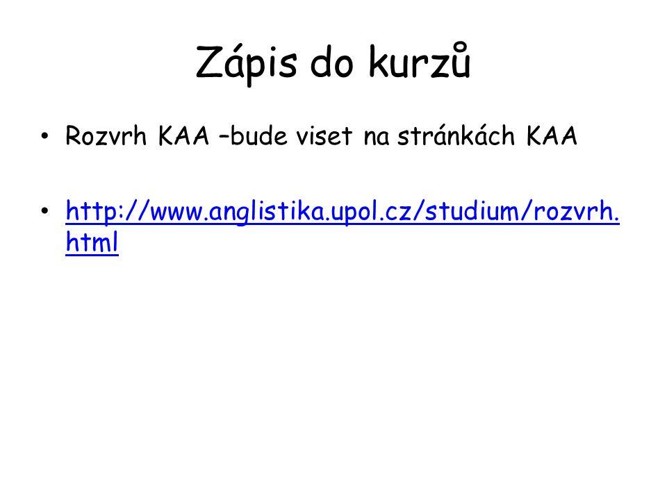 Zápis do kurzů Rozvrh KAA –bude viset na stránkách KAA