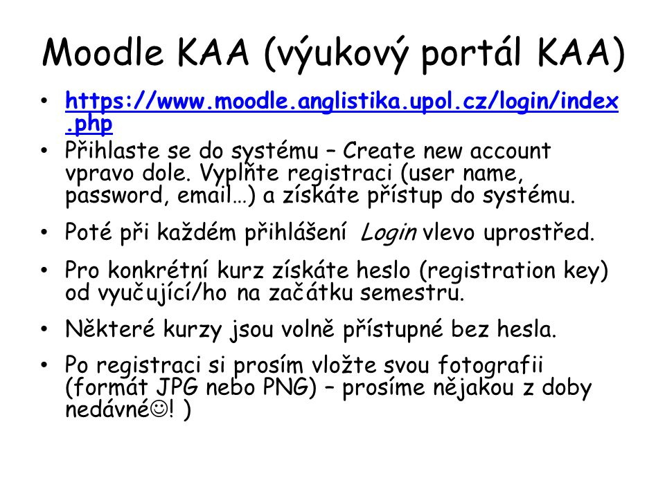 Moodle KAA (výukový portál KAA)