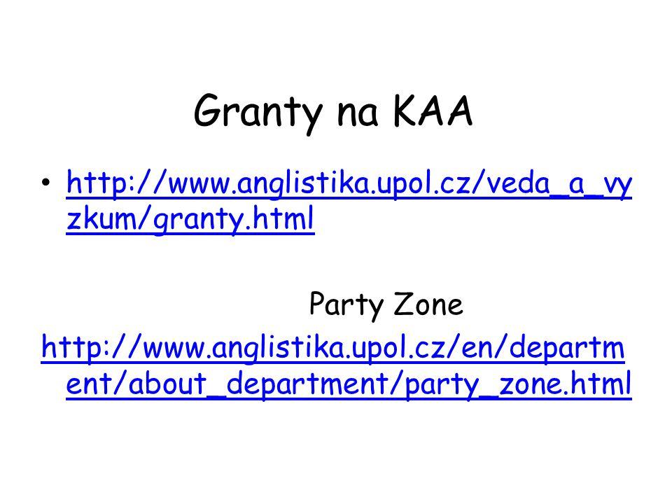 Granty na KAA http://www.anglistika.upol.cz/veda_a_vyzkum/granty.html