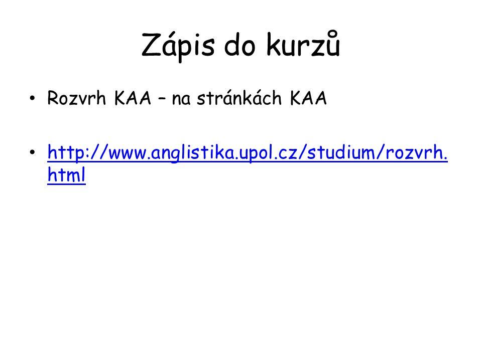Zápis do kurzů Rozvrh KAA – na stránkách KAA
