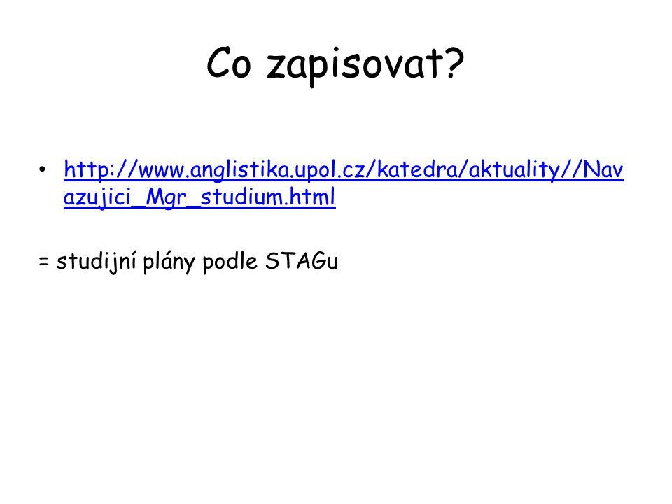 Co zapisovat. http://www.anglistika.upol.cz/katedra/aktuality//Navazujici_Mgr_studium.html.