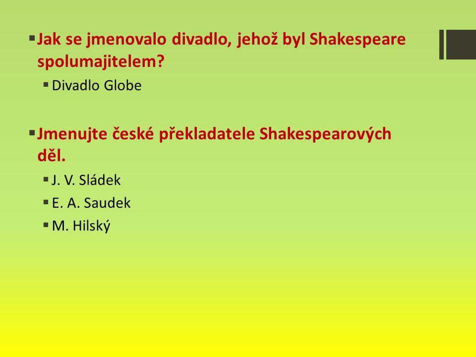 Jak se jmenovalo divadlo, jehož byl Shakespeare spolumajitelem