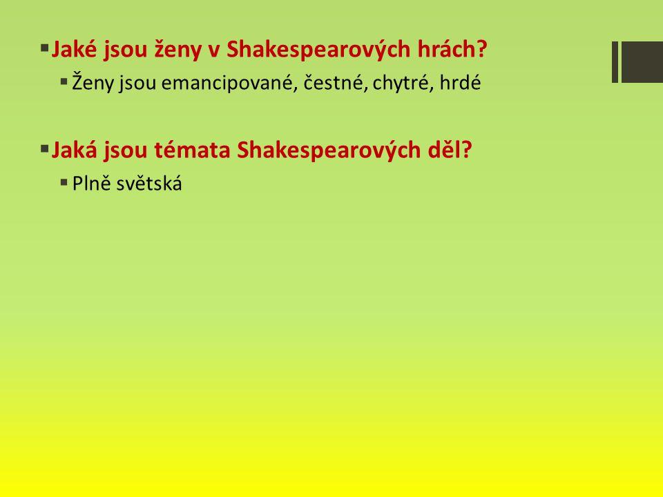 Jaké jsou ženy v Shakespearových hrách