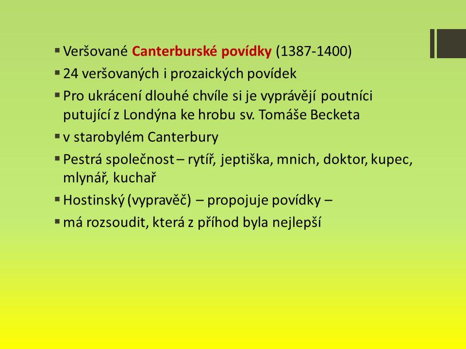 Veršované Canterburské povídky (1387-1400)
