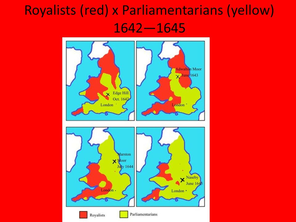 Royalists (red) x Parliamentarians (yellow) 1642—1645