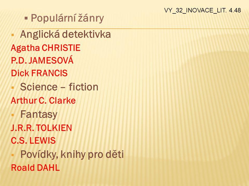 Anglická detektivka Science – fiction Fantasy Povídky, knihy pro děti