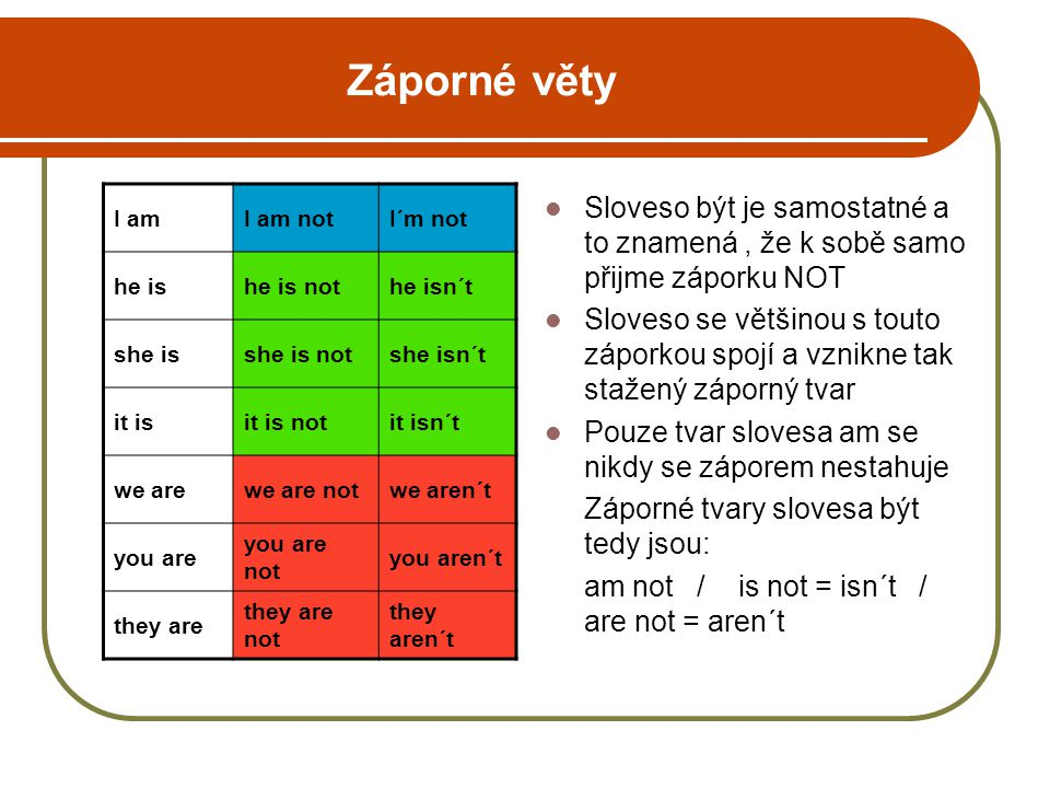 Záporné věty I am. I am not. I´m not. he is. he is not. he isn´t. she is. she is not. she isn´t.