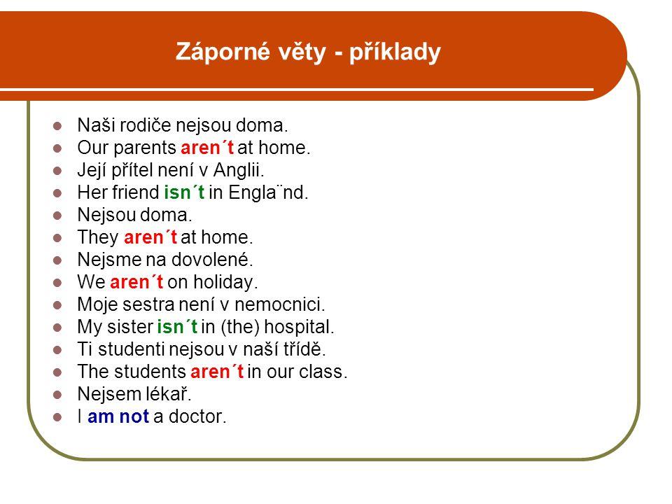 Záporné věty - příklady