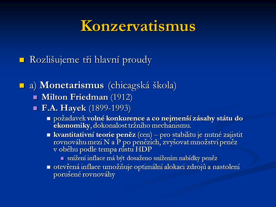 Konzervatismus Rozlišujeme tři hlavní proudy