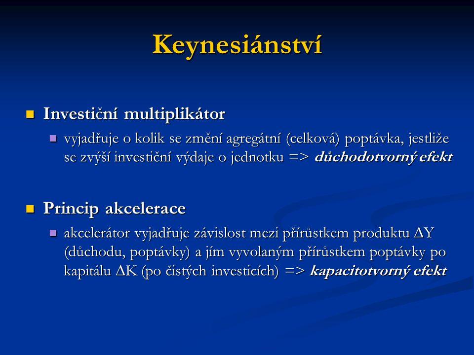 Keynesiánství Investiční multiplikátor Princip akcelerace