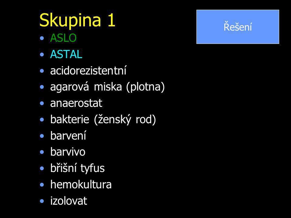 Skupina 1 ASLO ASTAL acidorezistentní agarová miska (plotna)