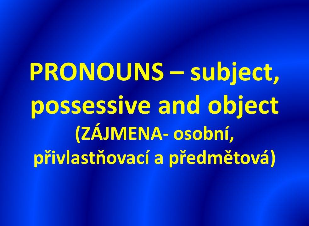 PRONOUNS – subject, possessive and object (ZÁJMENA- osobní, přivlastňovací a předmětová)