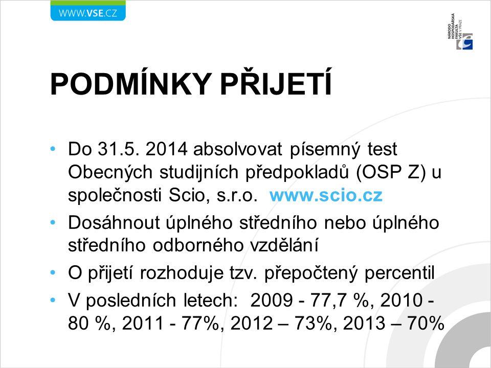 Podmínky přijetí Do 31.5. 2014 absolvovat písemný test Obecných studijních předpokladů (OSP Z) u společnosti Scio, s.r.o. www.scio.cz.