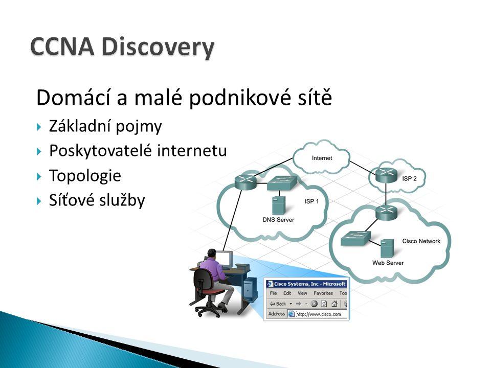 CCNA Discovery Domácí a malé podnikové sítě Základní pojmy