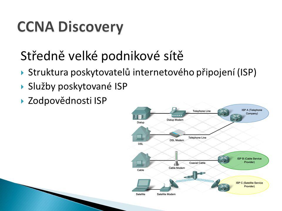 CCNA Discovery Středně velké podnikové sítě