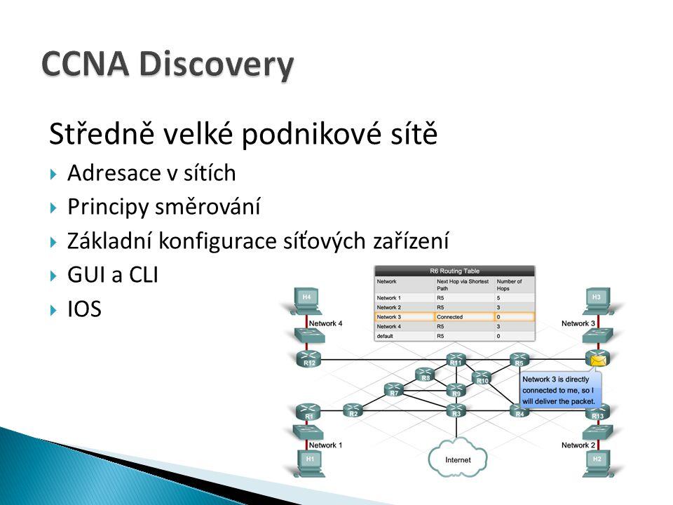 CCNA Discovery Středně velké podnikové sítě Adresace v sítích