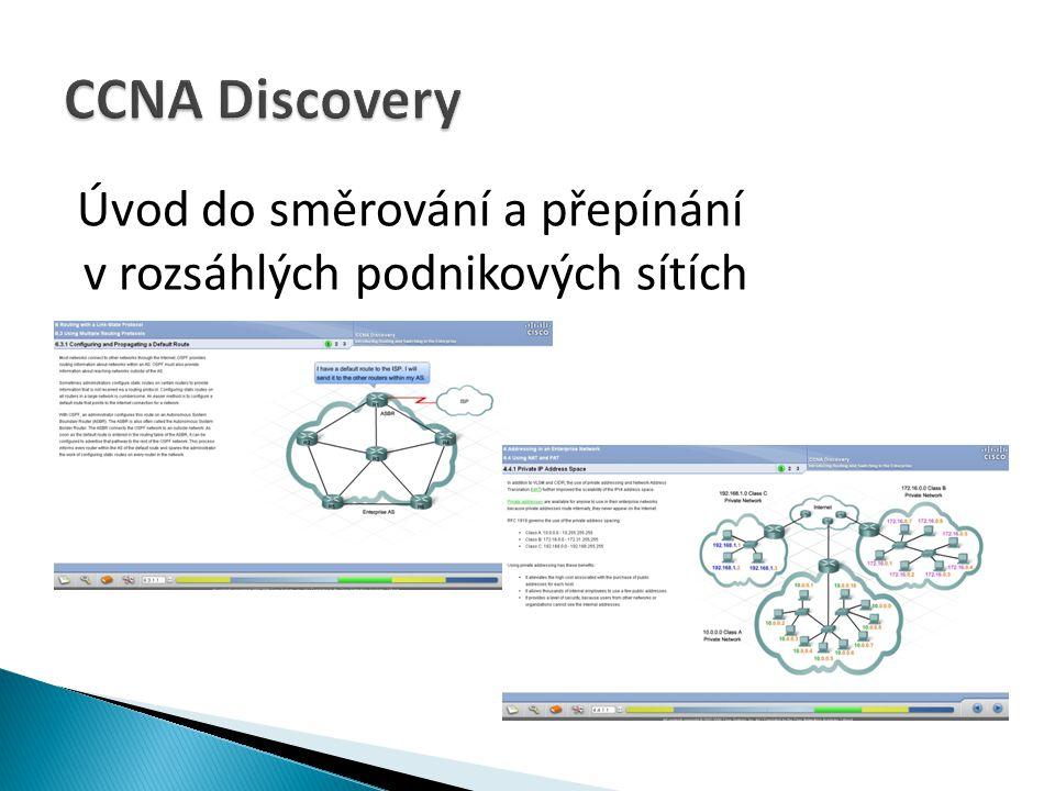 CCNA Discovery Úvod do směrování a přepínání v rozsáhlých podnikových sítích.