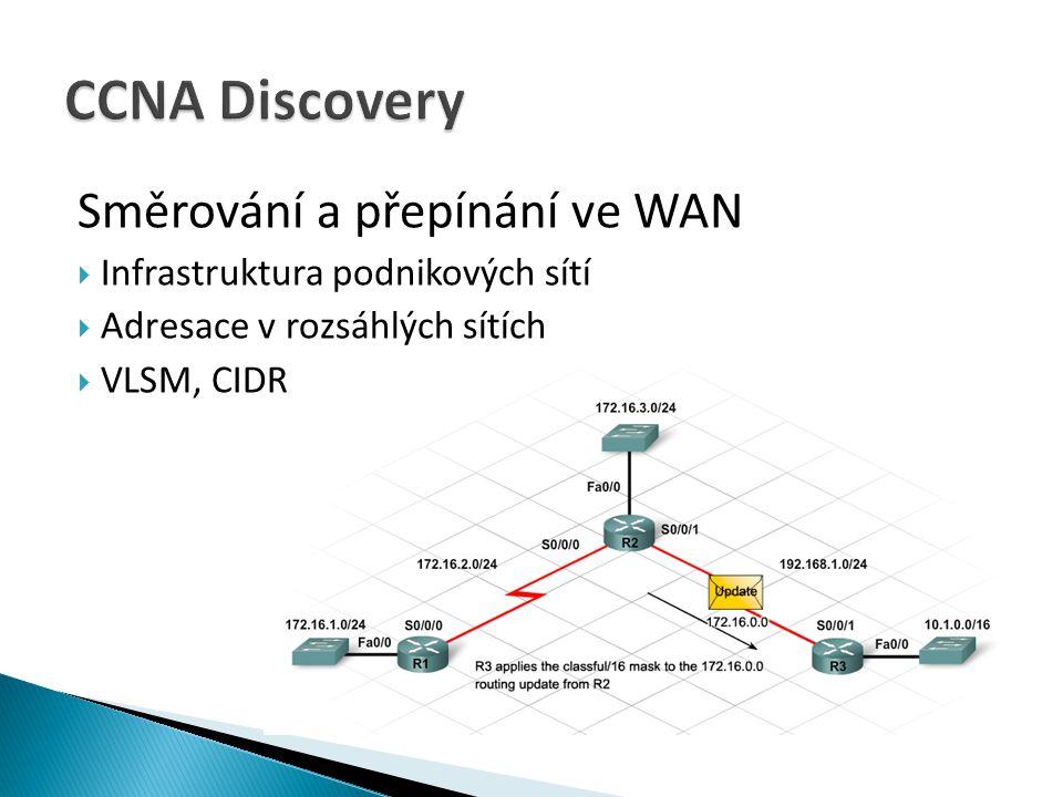 CCNA Discovery Směrování a přepínání ve WAN