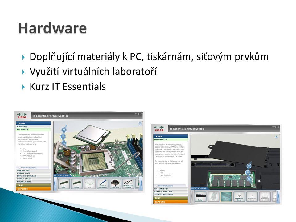Hardware Doplňující materiály k PC, tiskárnám, síťovým prvkům