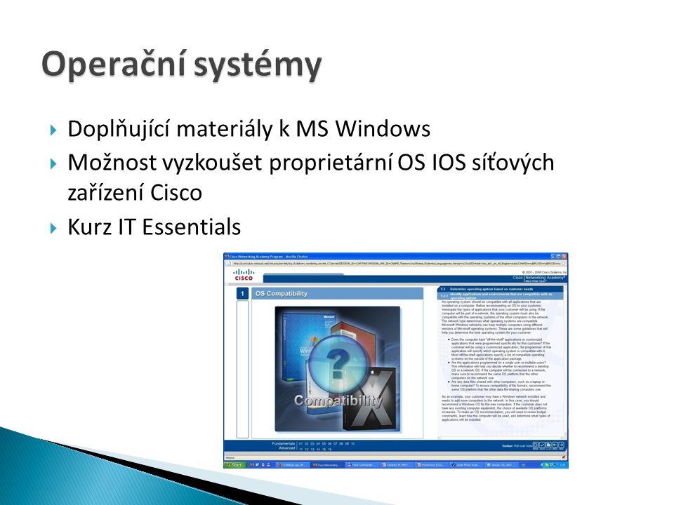 Operační systémy Doplňující materiály k MS Windows