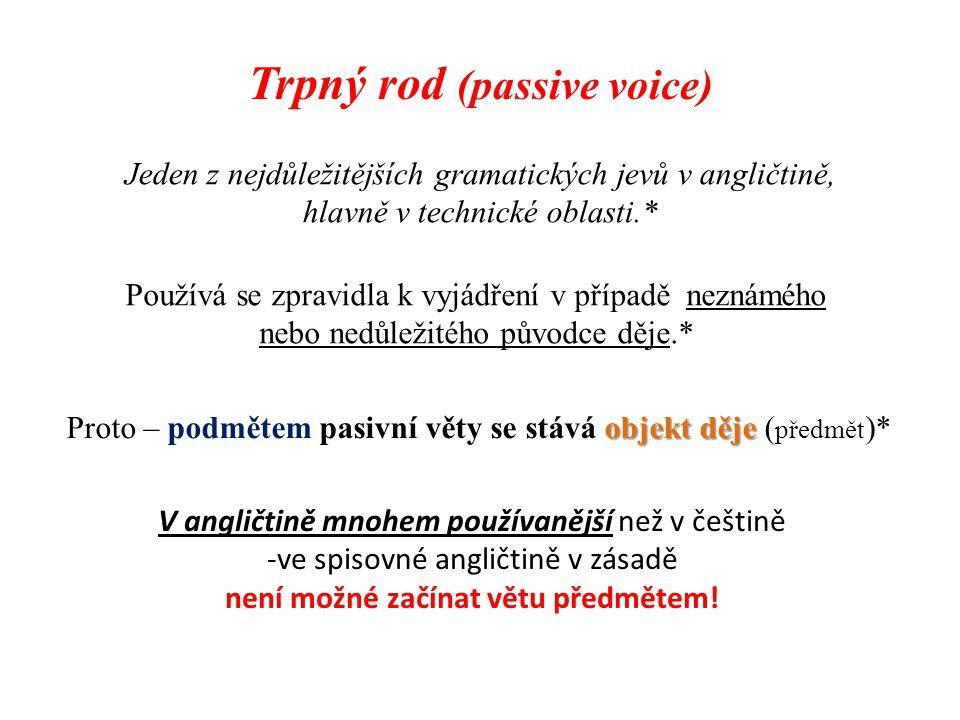 Trpný rod (passive voice) není možné začínat větu předmětem!
