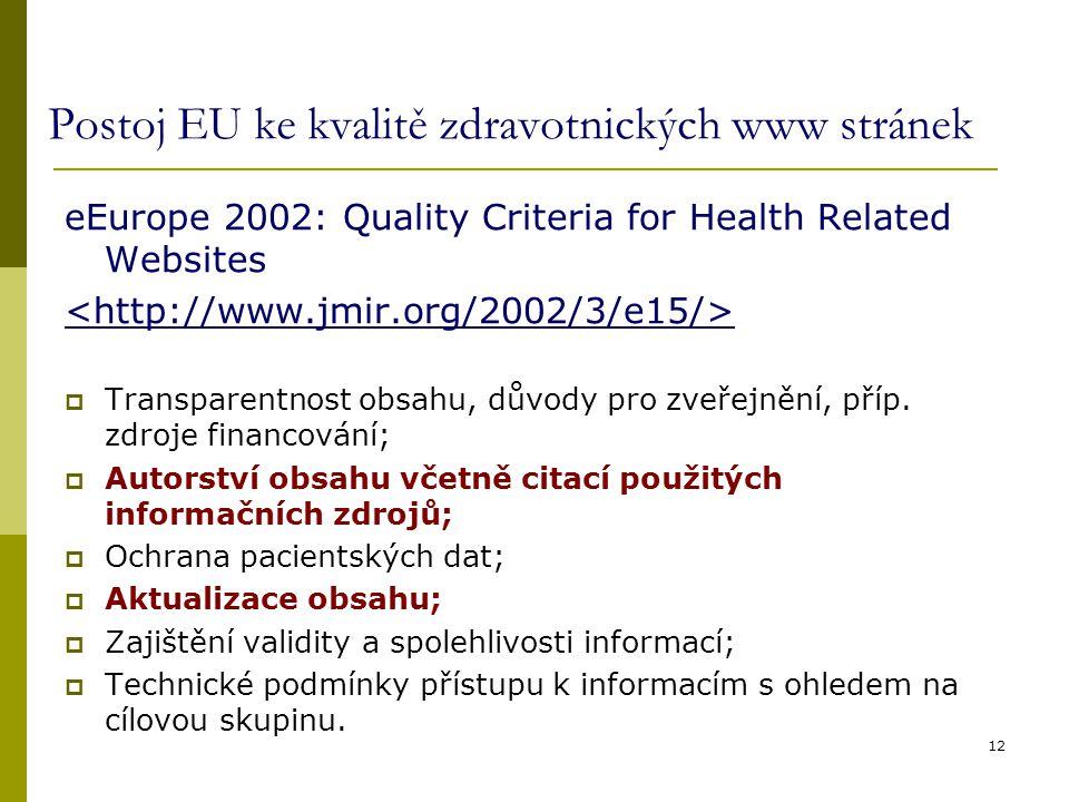 Postoj EU ke kvalitě zdravotnických www stránek