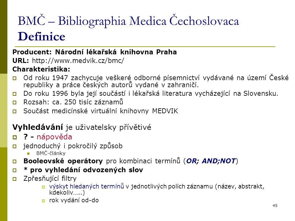 BMČ – Bibliographia Medica Čechoslovaca Definice