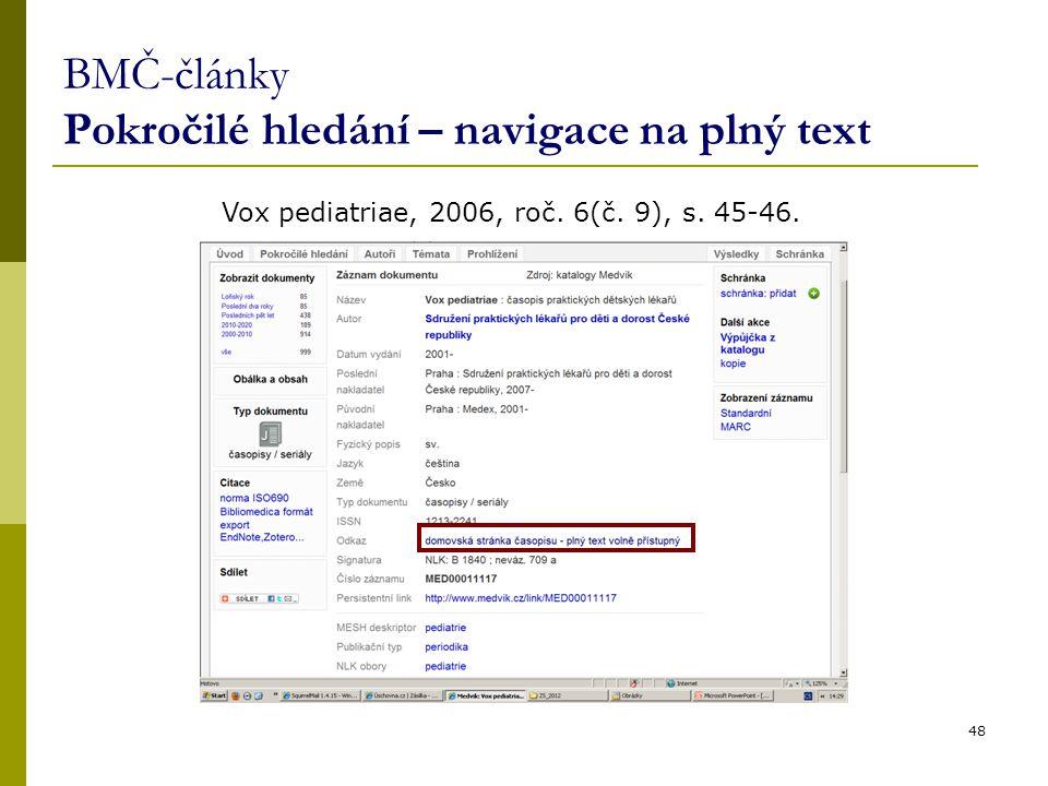 BMČ-články Pokročilé hledání – navigace na plný text