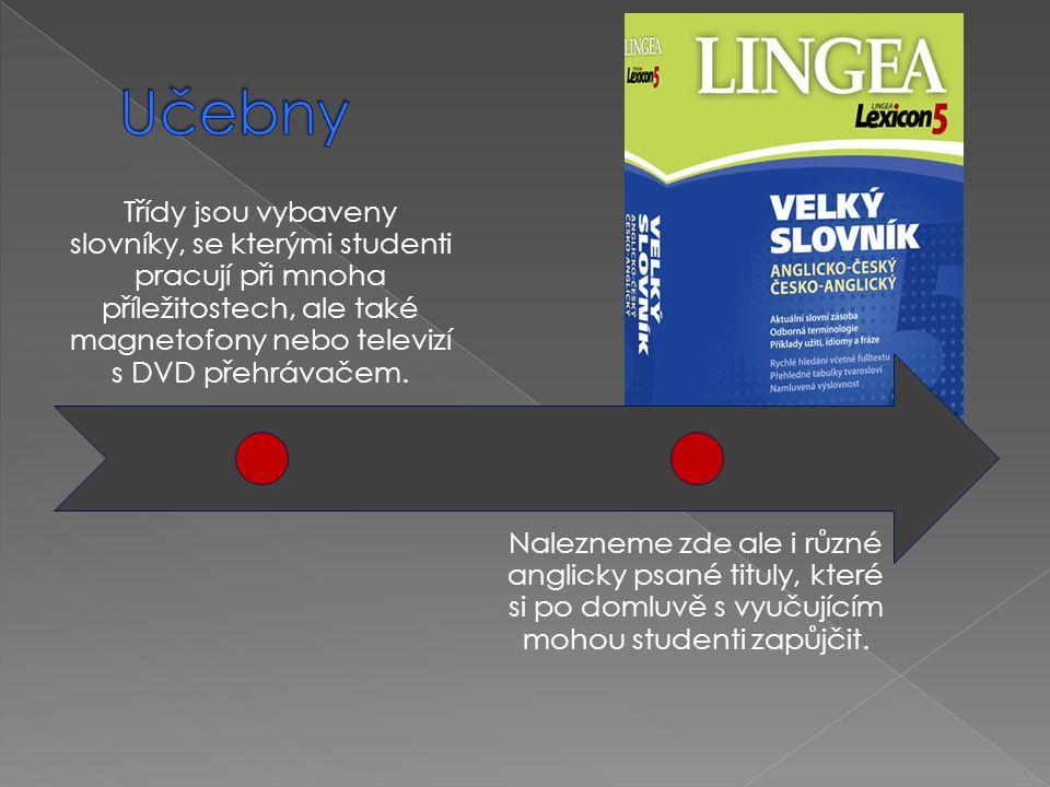 Učebny Třídy jsou vybaveny slovníky, se kterými studenti pracují při mnoha příležitostech, ale také magnetofony nebo televizí s DVD přehrávačem.