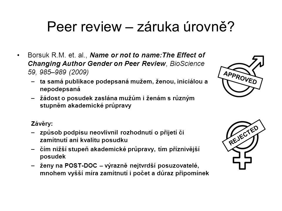 Peer review – záruka úrovně