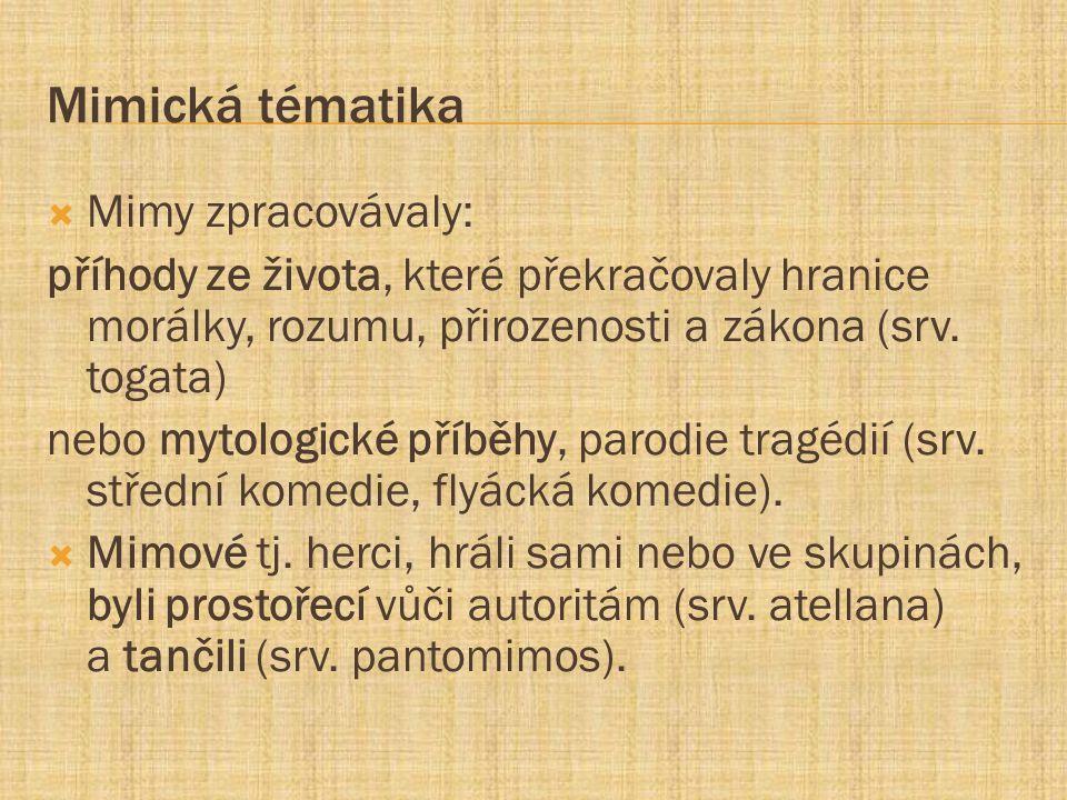 Mimická tématika Mimy zpracovávaly: