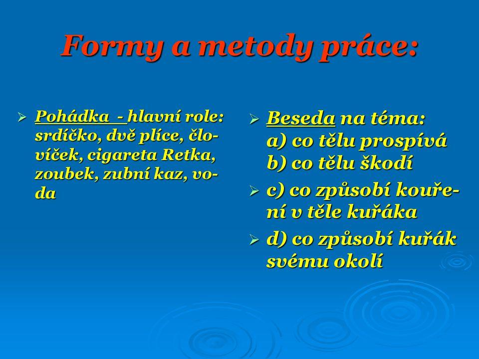 Formy a metody práce: Pohádka - hlavní role: srdíčko, dvě plíce, člo-víček, cigareta Retka, zoubek, zubní kaz, vo-da.