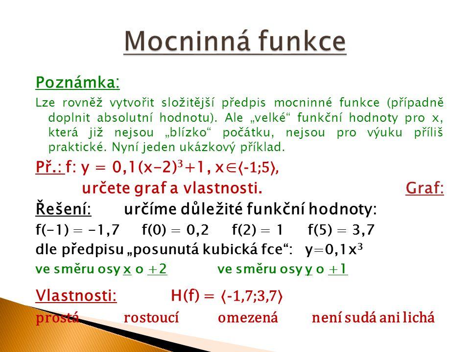 Mocninná funkce Poznámka: Př.: f: y = 0,1(x-2)3+1, x∈⟨-1;5⟩,