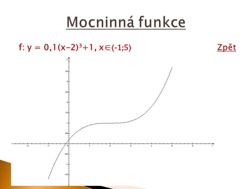 Mocninná funkce f: y = 0,1(x-2)3+1, x∈⟨-1;5⟩ Zpět