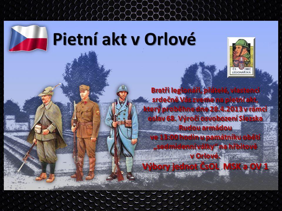 Pietní akt v Orlové Výbory jednot ČsOL MSK a OV 1