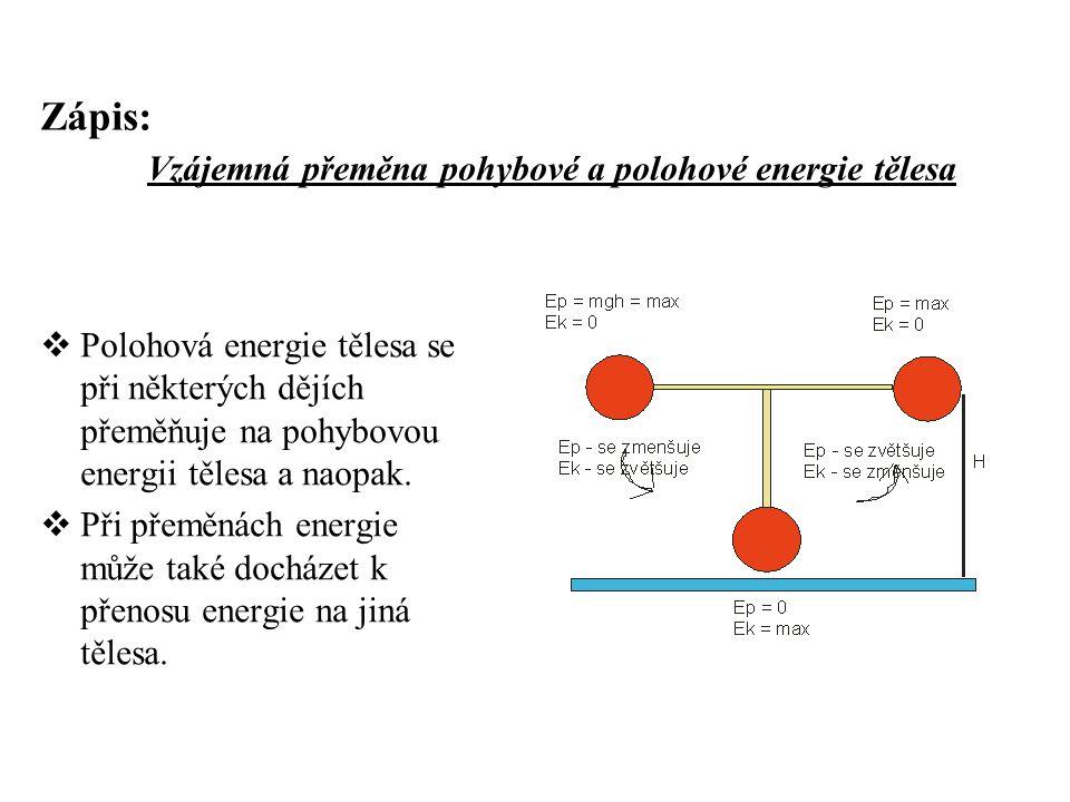 Zápis: Vzájemná přeměna pohybové a polohové energie tělesa