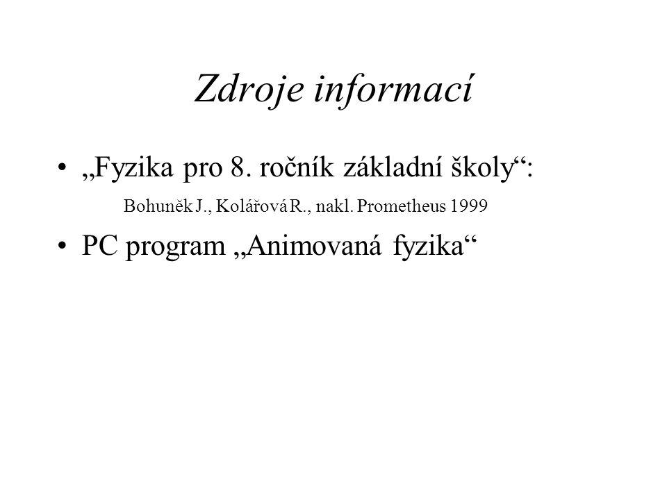 """Zdroje informací """"Fyzika pro 8. ročník základní školy : Bohuněk J., Kolářová R., nakl. Prometheus 1999."""