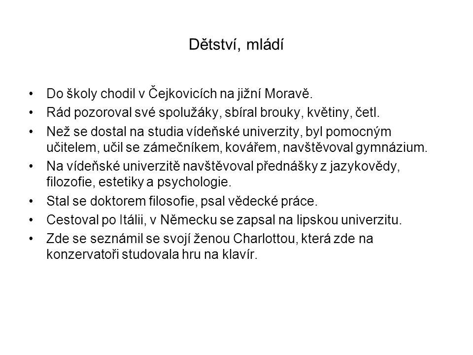 Dětství, mládí Do školy chodil v Čejkovicích na jižní Moravě.
